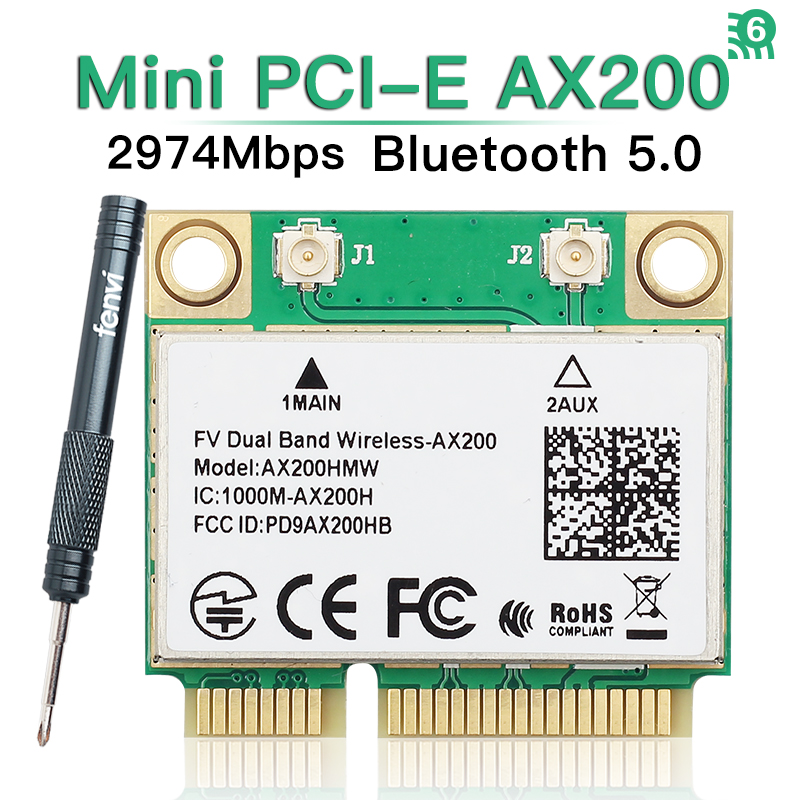 Dual Band 2974Mbps Wireless-AX200 Wi-Fi 6 AX200HMW Mini PCI-E Wifi Bluetooth 5.0 Network Card 802.11ac/ax For Intel AX200 Wlan