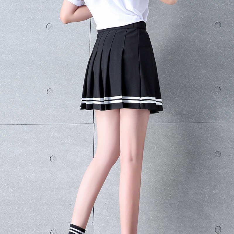 Высокая талия плиссированные юбки женские новые 2019 в Корейском стиле в полоску с пояском на талии, мини-юбка женский эластичный пояс Милая Девичья танцевальная юбка P068