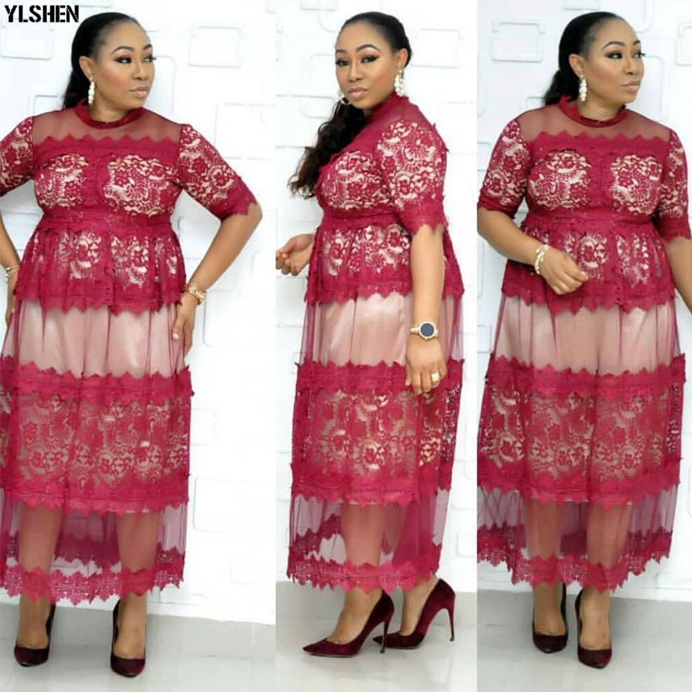 High Quality Elegant African Women Clothing Plus Size 3XL Evening Tunic Party Dress Formal Lace Mesh Dress Long Vestido De Festa