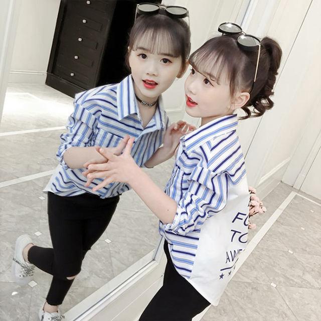 2020 çizgili gömlek kızlar için sonbahar okul bluz pamuk mavi kırmızı şerit elbise için yürümeye başlayan bebek 9 ila 10 yıl kızlar güz