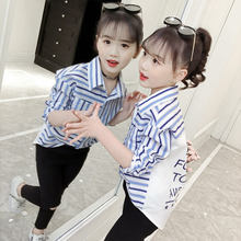 2020 פסים חולצות עבור בנות בית ספר סתיו חולצה כותנה כחול אדום פס בגדי פינג פעוט תינוק 9 כדי 10 שנים בנות חולצות סתיו