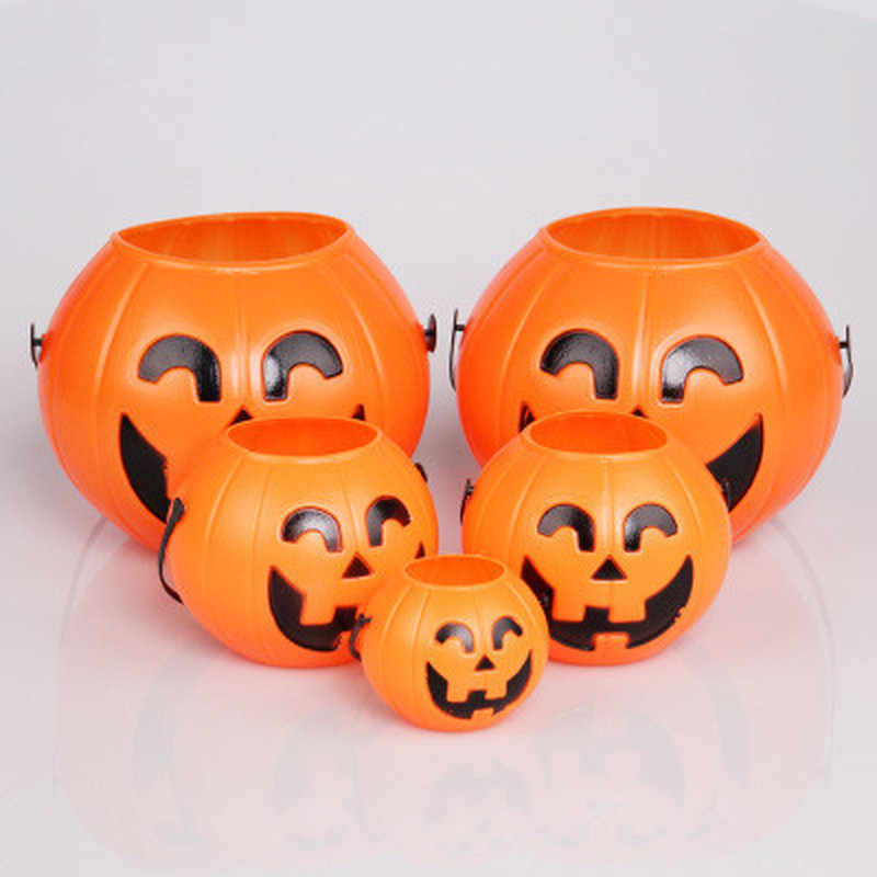 Halloween Party Props Plastic Pumpkin Bucket Trick Treat Cosplay Plastic Decoration Pouch Holder Halloween Decoration