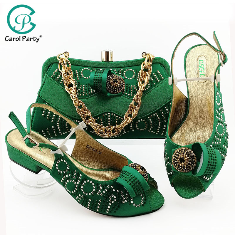Green Color African Shoes And Bag Matching Set With Stones Shoes 