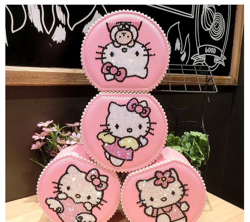 Fait à la main 2 couches Helloo Kitty organisateur de bijoux brillant strass perle boîtes à bijoux rose porte-boucle d'oreille Kitty chat paquet chanceux
