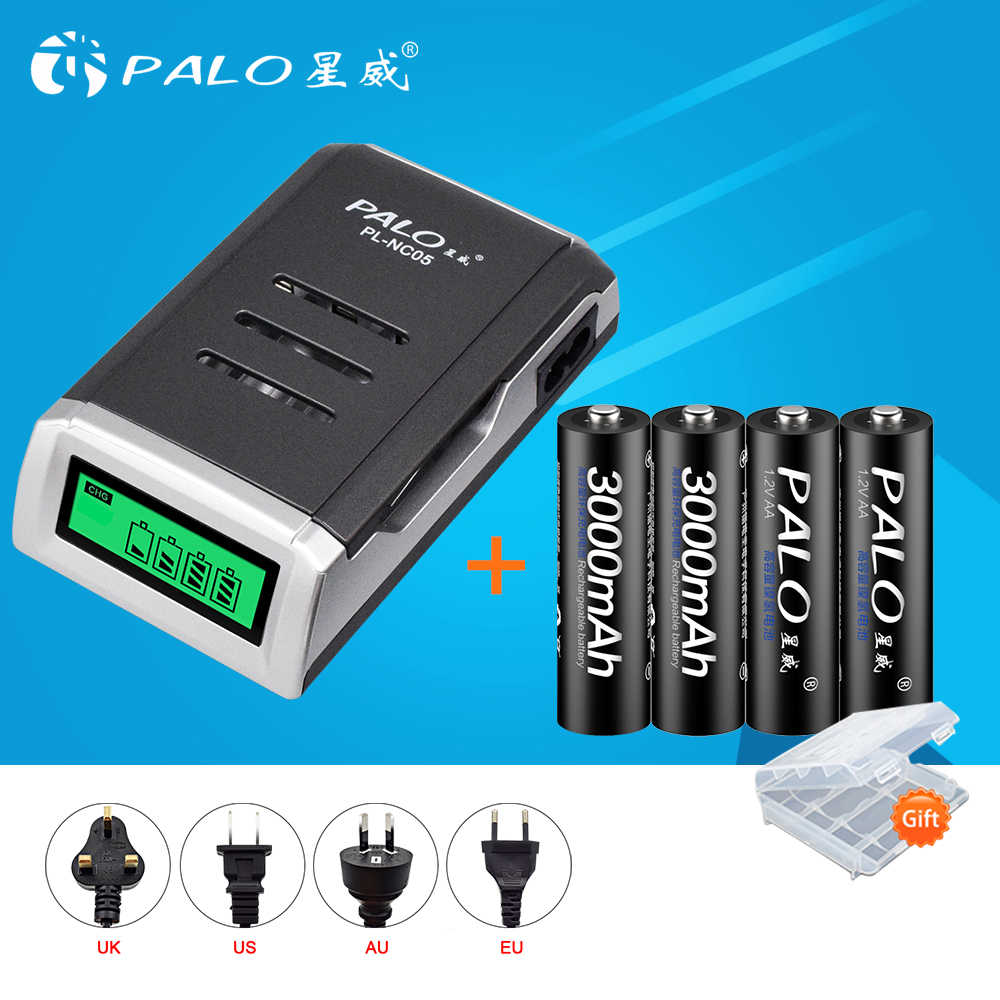 PALO 4 шт. 1,2 в 3000 мАч Ni-MH AA Аккумуляторная батарея 2A 2a aa перезаряжаемые батареи с ЖК-дисплеем смарт-зарядное устройство для AA AAA
