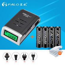 PALO 4pcs 1.2V 3000mAh NI-MH AA Rechargeable Battery  2A 2a aa Rechargeable Baterias with a LCD Smart battery charger for AA AAA palo 4pcs 3000mah ni mh 1 2v aa rechargeable batteries aa battery battery rechargeable battery with lcd display battery charger
