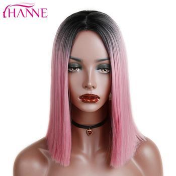 HANNE Ombre różowy brązowy szary proste ramię długie peruki syntetyczne żaroodporne włosy dla czarnych białych kobiet Cosplay lub Party tanie i dobre opinie Średni Wysokiej Temperatury Włókna Średnia wielkość 1 sztuka tylko