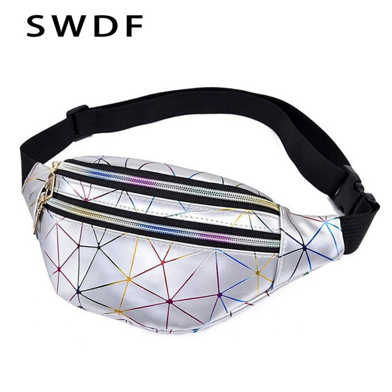 SWDF Holographic Fanny Pack Women's Belt Bag Female Waist Bags Girls Bum Bag Laser Chest Phone Pouch Line Ladies Purses Kidney