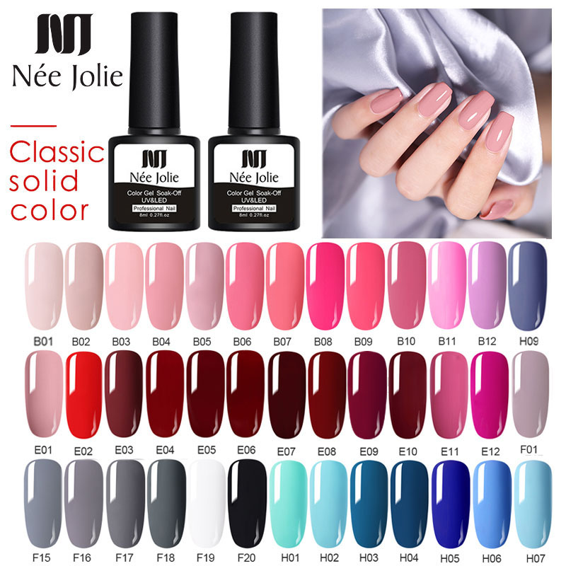 NEE JOLIE 60 Colors 8ml Solid Color Gel Nail Polish LED UV Gel For Nail Gray Red Pink Nail Art Varnish Hybrid Nail Gel Polish