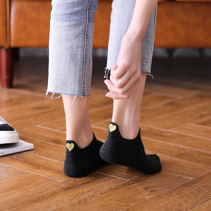 Fashion Socks Woman 2019 New Spring 1 Pair Ankle Socks Girls Cotton Color Novelty Lady Fashion Cute Heart Casual Women Socks