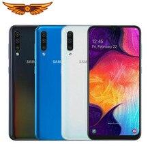 Original samsung galaxy a50 octa-core 6.4 polegadas 4gb ram 64gb rom 25mp triplo câmera traseira android smartphone desbloqueado celular