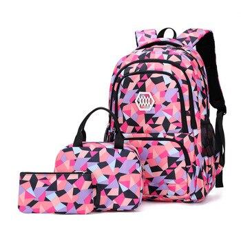 New 3Pcs set Geometric Prints Primary Backpacks Large Capacity Schoolbag for Middle School Girls Boys Bookbags Mochila Escolars