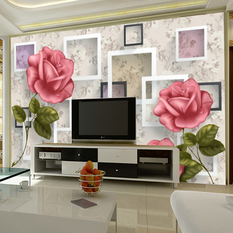 3D Large Mural Sofa Bedroom Background Of Television In The Drawing Room Wallpaper Seamless Wall Cloth Pastoral Style Roses