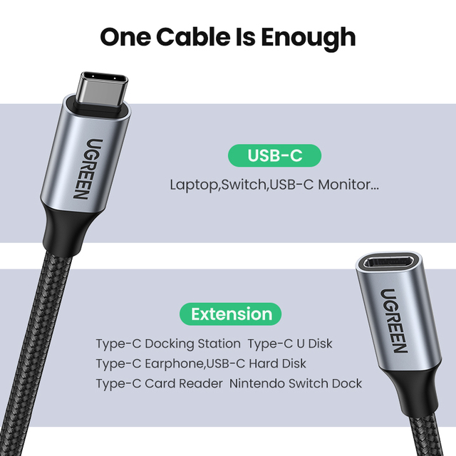 Ugreen USB C Extension Cable Type C Extender Cord USB-C Thunderbolt 3 for Xiaomi Nintendo Switch USB 3.1 USB Extension Cable 4