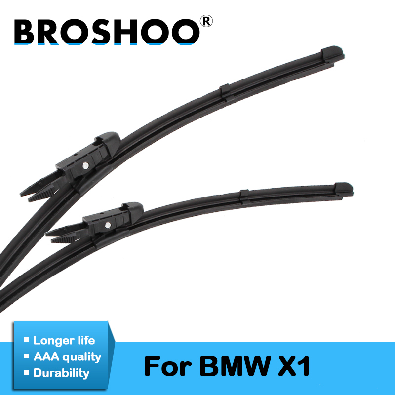 BROSHOO Car Windshield Wiper Blade Natural Rubber For <font><b>BMW</b></font> <font><b>X1</b></font> E84 F48 <font><b>Accessories</b></font> Fit Pinch Tab/Push Button Arms 2009 To <font><b>2017</b></font> image