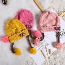 Новая шерстяная шапка для малышей, вязаные шапочки с цветочным рисунком для малышей на осень и зиму, мягкая теплая вязаная шапочка для новорожденного, Детские Кепки из хлопка для детей 3-24 месяцев