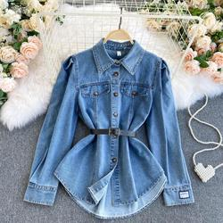 Denim shirt women's new hot style Hong Kong style temperament single-breasted slim fit long-sleeved shirt bottoming shirt