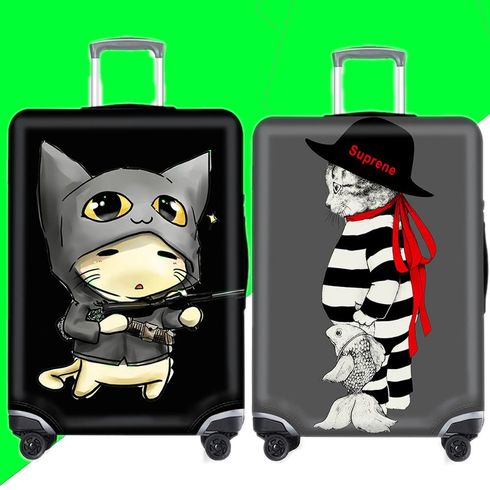 Kawaii Animal Cat Luggage Case Protective Cover Waterproof Thicken Elastic Suitcase Cover Apply 18-32Inch XL Travel Accessories