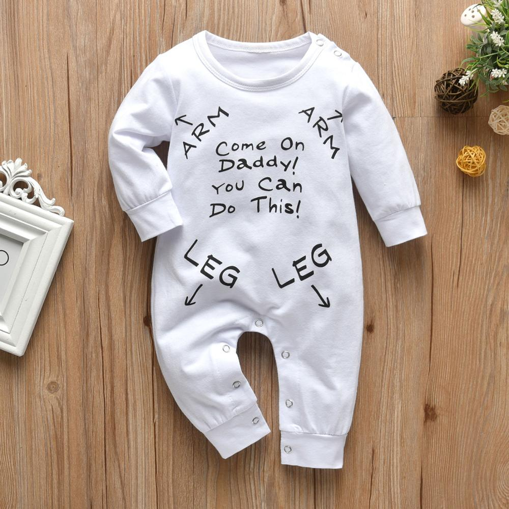 Infant Boys Girls Clothing Baby Romper Long Sleeve Letter Come On Daddy!You Can Do This! Jumpsuit Pajamas Newborn Baby Clothes | Happy Baby Mama