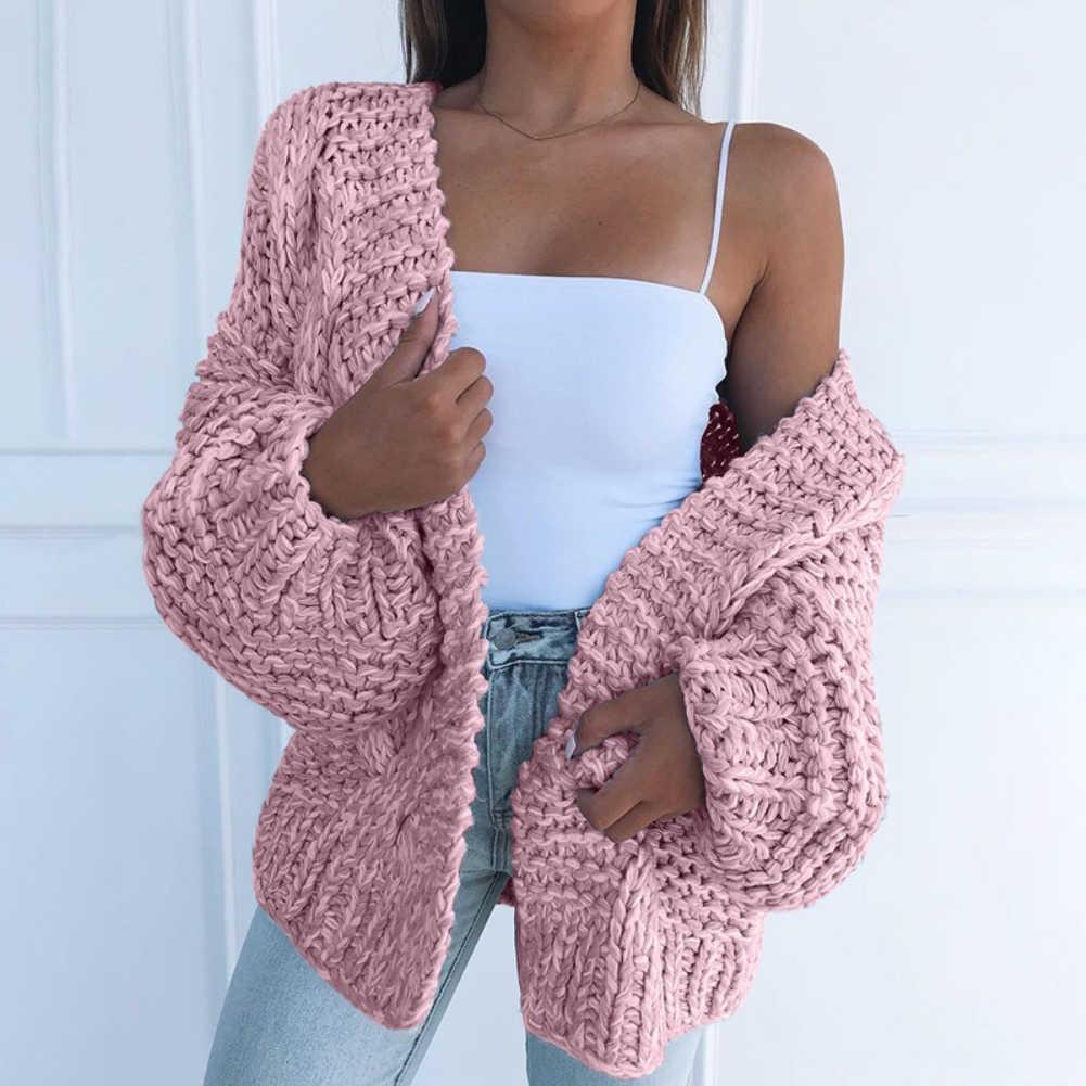 겨울 패션 여성 두꺼운 스웨터 카디건 따뜻한 솔리드 컬러 오픈 프론트 코트 폴리 에스터 스판덱스 따뜻한 오픈 전면 모든 일치 스웨터