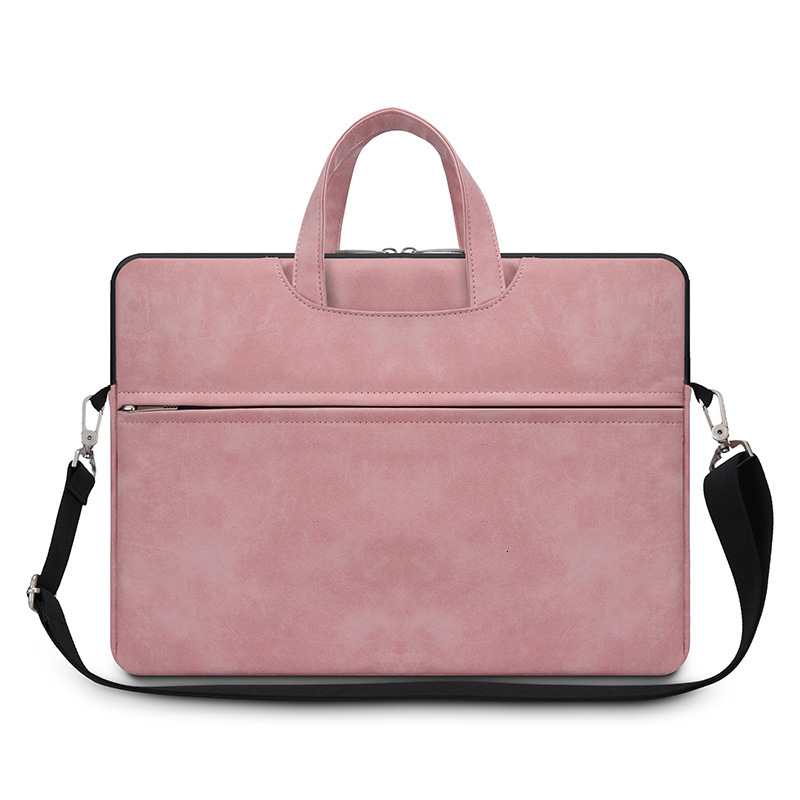 Briefcase Men Laptop-Bag Business Women Pu Multi-Functional Flat-Storage Matte Pure-Color title=