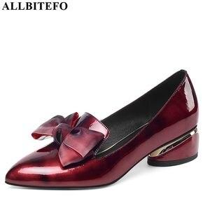 Image 3 - Allbitefo borboleta nó couro genuíno nova moda de salto alto casual menina alta sapatos de salto grosso venda quente sapatos plataforma feminina