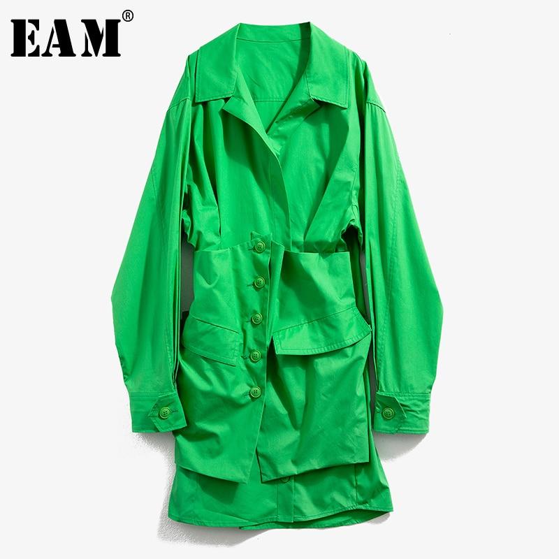 [EAM] Women Green Pleated Split Asymmetrical Shirt Dress New Lapel Long Sleeve Loose Fit Fashion Tide Spring Autumn 2020 1N499