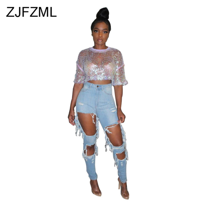 Distressed Hole Ripped Jeans for Women High Waist Push Up Vintage Blue Denim Pants Streetwear Causal Loose Plus Size Jeans Mujer