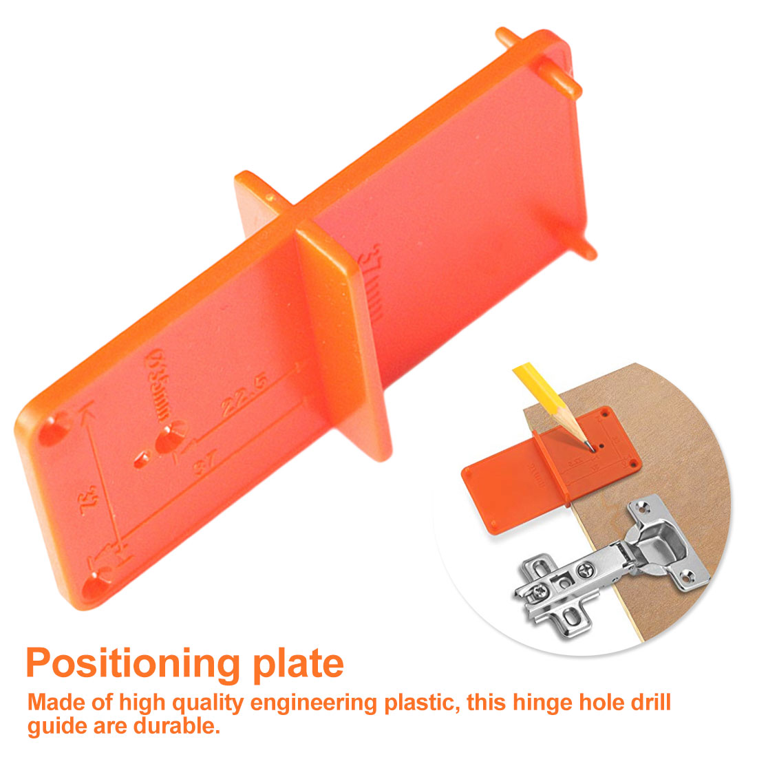 ABS Hinge Hole Drilling Guide Locator Woodworking Tools Hole Opener Template Door Installation Jig Cabinets DIY Tool