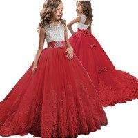 Красное кружевное платье с вышивкой для девочек, рождественское платье для дня рождения платье с цветочным рисунком на свадьбу, Детские тор...