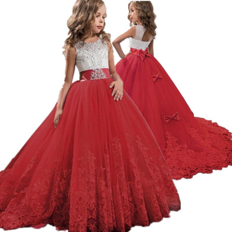 Menina vermelha laço bordado natal festa de aniversário vestido de casamento flor formal crianças vestidos para meninas roupas adolescentes 6 14 anos