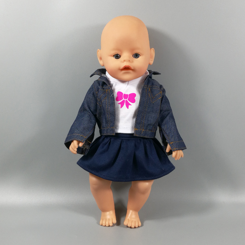 <font><b>Doll</b></font> <font><b>Clothes</b></font> 4 Styles 3 Pcs Dress Coat Shirt Outfits For 18 Inch American <font><b>Doll</b></font> & 43 <font><b>Cm</b></font> Born <font><b>Doll</b></font> For Generation 3-pieces Cowboy image