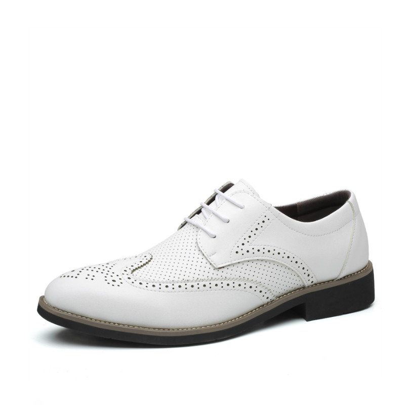 New 2020 Men Fashion Shoes Classic Summer Breathable Leather Shoes Elastic Sewing Limited Edition Italy Brogue Dress Shoes
