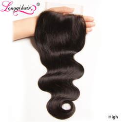 Longqi бразильские волосы волнистые 4x4 кружева закрытие Remy человеческие волосы закрытие натуральный цвет 10-20 дюймов Бесплатная средняя три