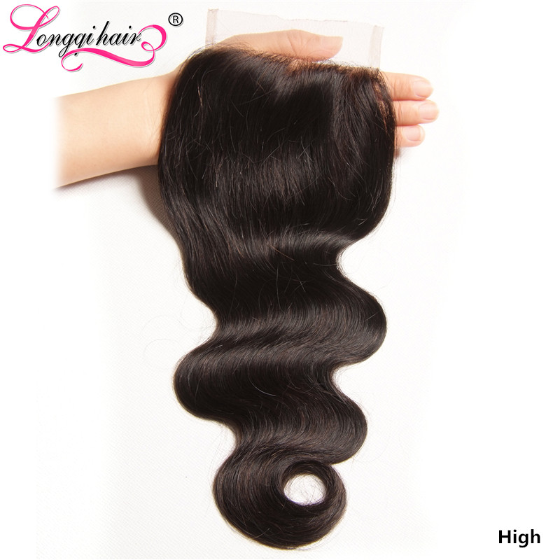 Longqi H Brazilian Body Wave 4x4 Lace Closure Remy Human Hair Closure Natural Color 10-20 Inch Free Middle Three Part Closure