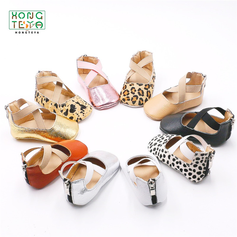 Leopard Genuine Leather Ballet Flats Girls Shoes Princess Infant Toddler Crib Girls First Walkers Soft Soled Anti-Slip Shoes