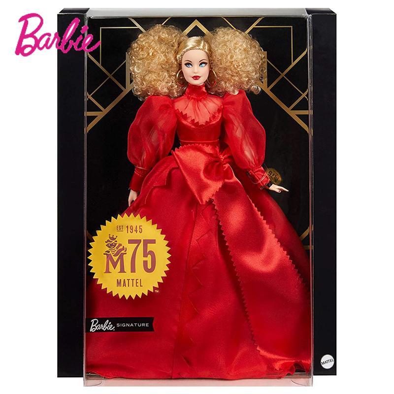 Barbie Collector Mattel 75Th Jahrestag Puppe In Rot Chiffon Kleid Blonde Puppe Spielzeug Macht Die Perfekte Geschenk für Sammler