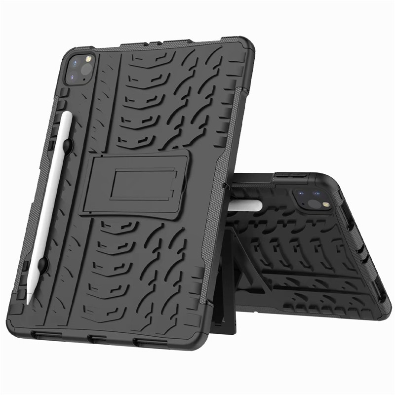 Black Black Shockproof Armor Case For New iPad Pro 11 2020 Case With Pencil Holder Flip Stand Cover