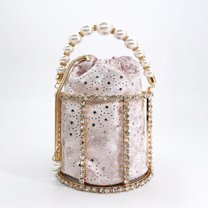Image 3 - 中空アウトパールバケツイブニングバッグ女性 2019 高級デザイナー韓国手作り合金メタリッククラッチバッグの女性のショルダーバッグバッグ