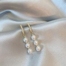 Женские серьги с жемчугом Простые Длинные ювелирные украшения