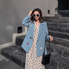 Stylish Korean Ladies Blazer Loose Casual Solid Blue Simple Suit Jacket Chamaras Mujer Vintage Spring Women Jacket Party MM60NXZ