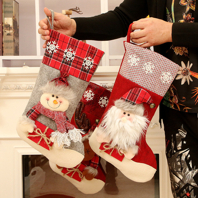 Christmas Decoration Christmas Socks Ornaments Pendant Small Boots Children New Year Candy Bag Gift Fireplace Tree Jewelry 2