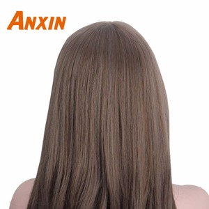 Image 4 - Anxin Long Curly Synthetic Wigs with Bangs Brown Womans Hair Heat Resistant High Temperature Kinky Cosplay Wig for Women