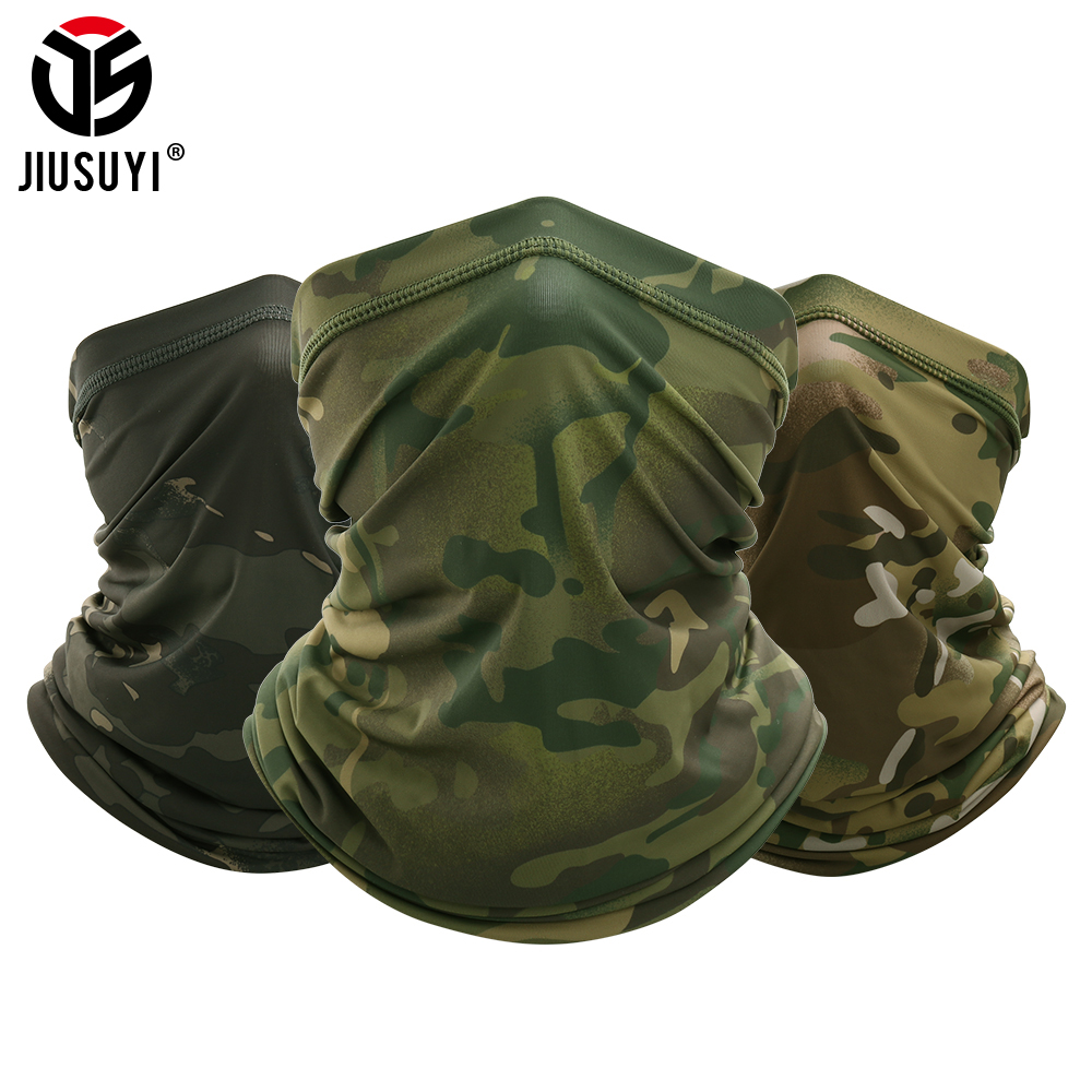 Military Tactical Bandana Summer Face Scarves Tubular Head Silk Scarf Camo Anti-UV Windproof  Soft Neck Gaiter Cover Men Women