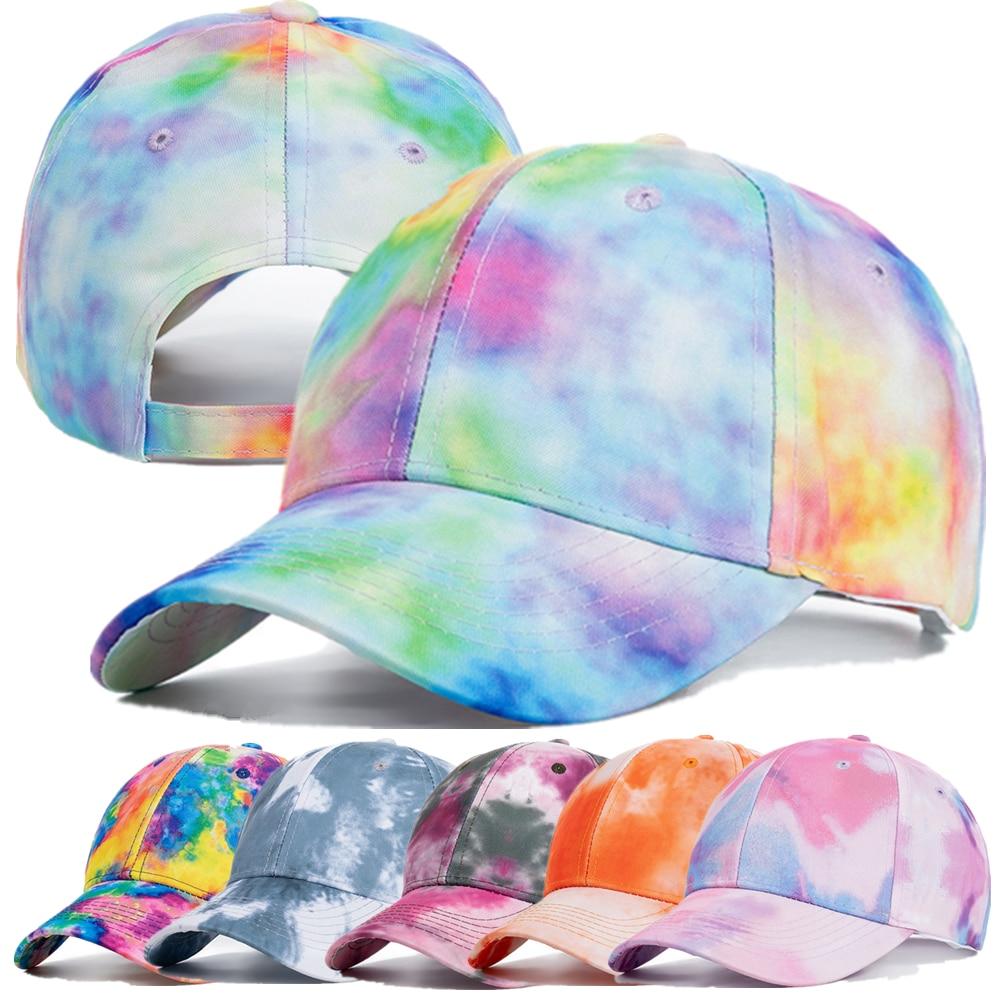 New Fashion Women Tie Dye Cap Multicolor Irregular Print Baseball Cap Female Outdoor Streetwear Summer Caps Hats