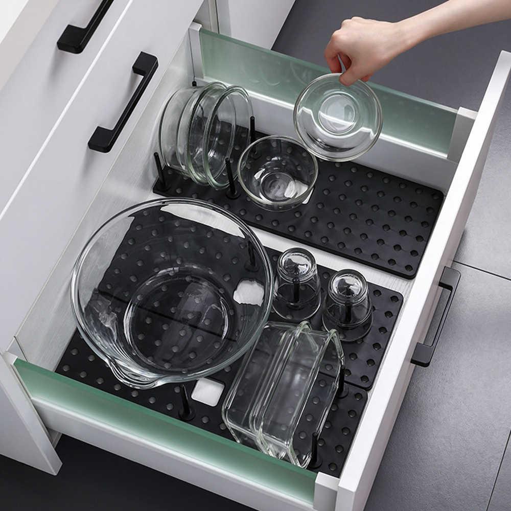 Küche Teller Topfabdeckung Trocknen Ablass Halter Kunststoff Storage Rack W H6G1
