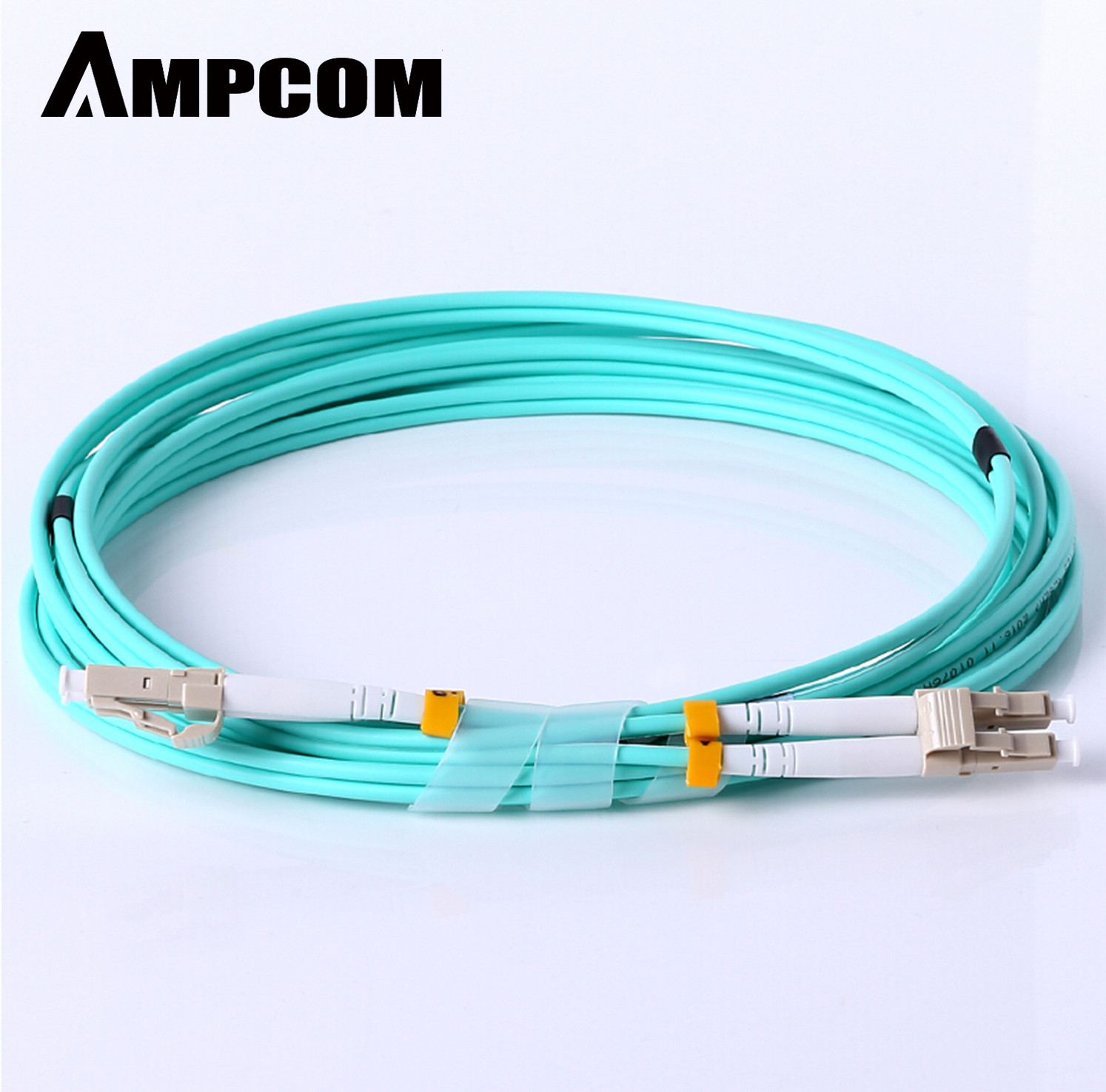 Fiber Patch Cable, AMPCOM 10G Gigabit Fiber Optic Cables With LC To LC Multimode OM3 Duplex 50/125  LSZH