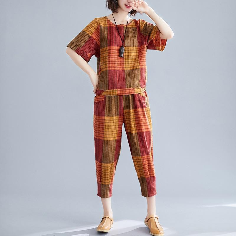 Cotton Linen WOMEN'S Suit Summer New Style 2019 Retro Loose And Plus-sized Tops T-shirt With Capri Harem Pants Two-Piece Set