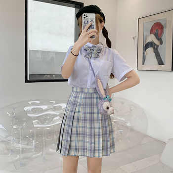 Japanese School Uniforms Skirts Girl\'s Dresses JK Suits Plaid Skirt Bowknot Shirt Female Sailor Costume Dress Clothes for Women