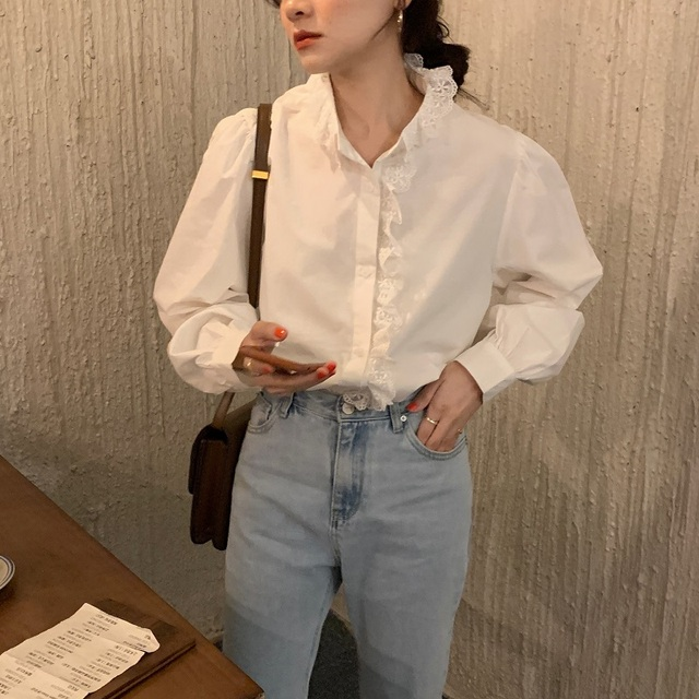 REALEFT Elegant White Women's Blouse Lace Patchwork Lantern Sleeve Buttons Office Shirts Tops Female 2021 New Spring Summer 5
